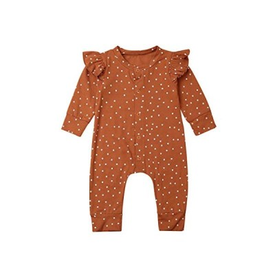Genlei Baby Girl Clothes Ruffles Polka Dots Long Sleeve Romper Newborn Button Down Outfit Bodysuit One Piece (Brown, 12-18 Months)