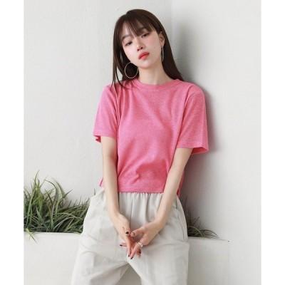 tシャツ Tシャツ リネン混合カラークロップドTシャツ