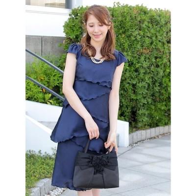 PLIQUA パーティドレス ドレス 結婚式 親族 服装 披露宴 おしゃれ フォーマル お呼ばれ カラードレス 二次会ドレス ワンピ 上品 日本製 5-3511 (ネイビー)