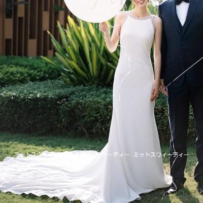 ウェディングドレス ロングドレス 結婚式 ホルターネック ウエディングドレス 二次会 花嫁 前撮り エレガント サテン ホワイト シンプル リゾート ワンピース