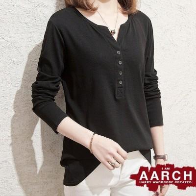 大きいサイズ Tシャツ トップス レディース ファッション ぽっちゃり おおきいサイズ あり ヘンリーネック 長め丈 カットソー ロンT L LL 3L 4L 5L  春夏