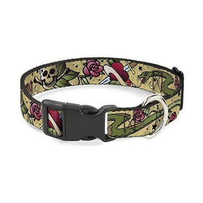 Buckle-Down Cat Collar Breakaway Live Hard Die Young Tan 8 to 12 Inches 0.5 Inch Wide【並行輸入品】