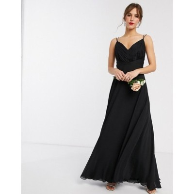エイソス レディース ワンピース トップス ASOS DESIGN Bridesmaid cami maxi dress with ruched bodice and tie waist