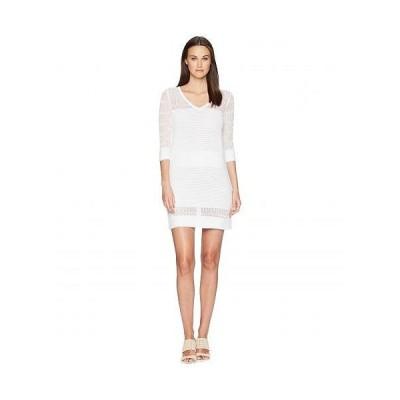 Boutique Moschino レディース 女性用 ファッション ドレス Stretch Viscose Dress with Sheer Detailing - White