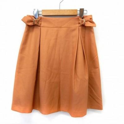 【中古】エストネーション ESTNATION スカート フレア 膝丈 バックジップ シンプル 38 オレンジ /ST44 レディース 【ベクトル 古着】