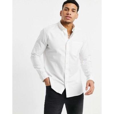 セレクテッド ワークシャツ メンズ Selected Homme oxford shirt in white エイソス ASOS ホワイト 白