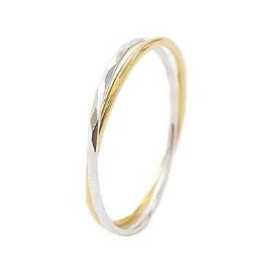 18金(K18) イエロー ホワイトゴールド リング 指輪 シンプル 2連 ツーカラ? 華奢 カットリング フラット デザイン
