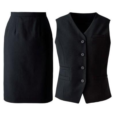 オフィスベストスーツ(ベスト+スカート)(洗濯機OK、撥水、防汚加工、形態安定、ストレッチ素材)(事務服)/ブラック(無地)/15ABR80