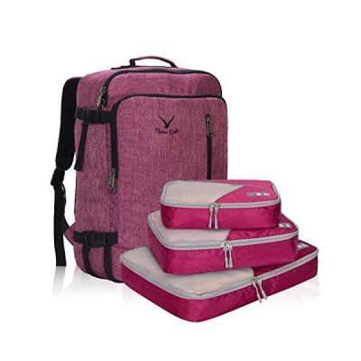 Hynes Eagle 38L Flight Approved Weekender Carry on Backpack, Red Violet with Red Violet 3PCS Packing Cubes 2018 並行輸入品