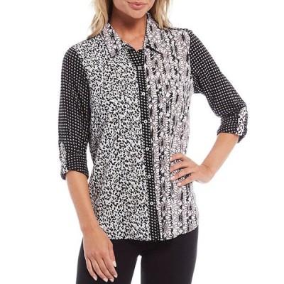 イントロ レディース シャツ トップス Ebony Black Mixed Print Roll-Tab Sleeve Button Down Shirt