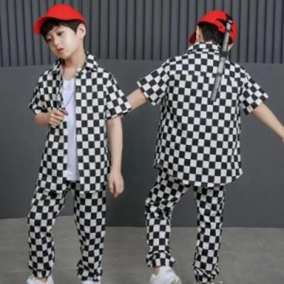 キッズダンス衣装 ヒップホップ 2点セットチェック柄 キッズ ダンス衣装 トップス パンツ 男の子 女の子 ダンス衣装 ジャズダンス ステー