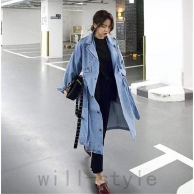 デニムトレンチコート韓国オルチャンストリートダンス衣装原宿系ジーンズGジャンアウターロングきれいめ