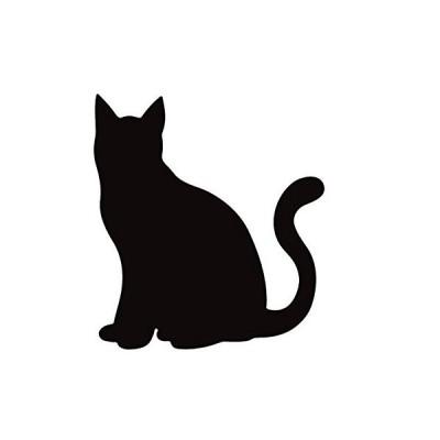 ネコ ねこ キャット 猫 お座りしてこっちを見つめる シルエット ステッカー シール