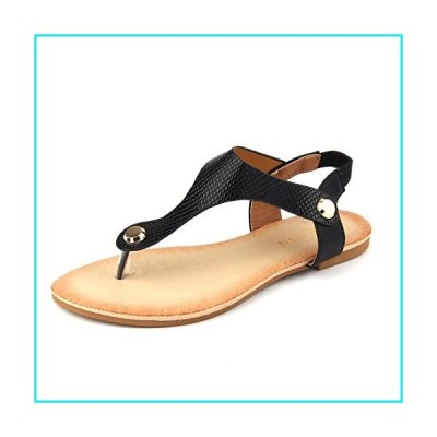 Mu Dan Women Nail Casual Wear Gladiator Flat T-Strap Sandals (9 B(M) US, Black)【並行輸入品】