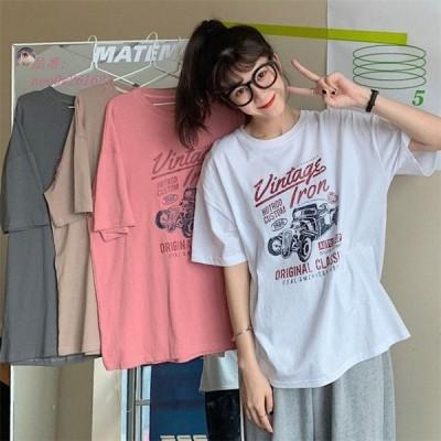 レディース クルマ カジュアル 女子トップス クールネック Tシャツ コンフォート 半袖 文字
