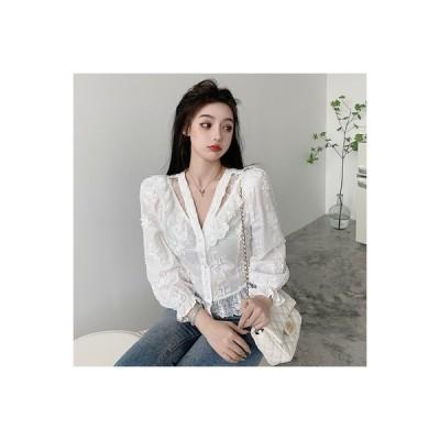 【送料無料】秋冬 白いレースのシャツ 女 デザイン 感 小 フレンチ タイプ アンティーク | 364331_A64221-8653932