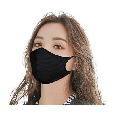 マスク 水着素材( 5枚組 Mサイズ 女性  小学高学年以上 )ひんやり 涼しい 接触冷感 夏 夏用マスク 洗濯 洗える 水着(ブラック M)