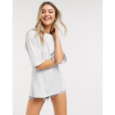 エイソス レディース Tシャツ トップス ASOS DESIGN t-shirt with corset detail in ice gray marl