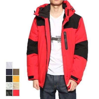 中綿ジャケット ブルゾン ストレッチ ジップアップ 切替 フード アウトドア 撥水 カジュアル バイカラー アウター メンズ