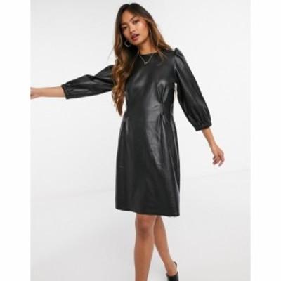 ヴェロモーダ Vero Moda レディース ワンピース ワンピース・ドレス faux leather mini dress with volume sleeves in black ブラック