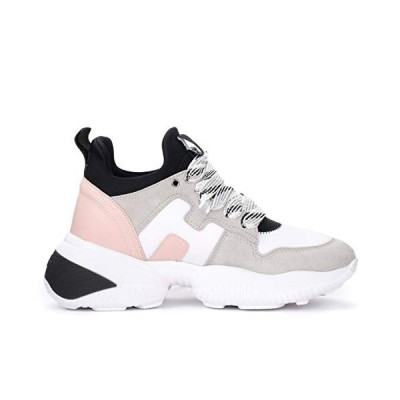 Hogan Interaction Sneaker in White Gray and Pink Suede 40(EU)-10(US) Multicolour 並行輸入品