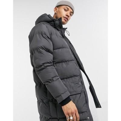 プルアンドベアー メンズ ジャケット・ブルゾン アウター Pull&Bear oversized longline puffer jacket in gray