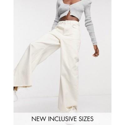 コリュージョン レディース デニムパンツ ボトムス COLLUSION x008 wide leg jeans in ecru Ecru