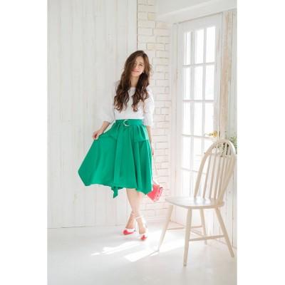 【シルフ】 イレギュラーペプラムスカート レディース グリーン 1 Sylph
