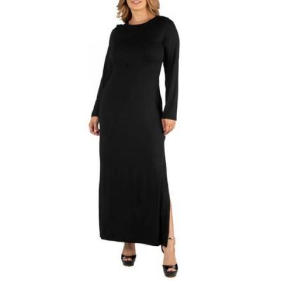 24セブンコンフォート レディース ワンピース トップス Plus Size Form Fitting Long Sleeve Side Slit Maxi Dress