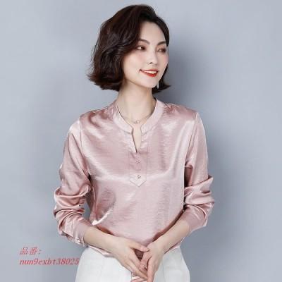 韓国 ファッション シルク 女性 ブラウス サテン 長袖 ピンク 女性 シャツ プラスサイズ Xxxl レディース トップス blusas Femininas エレガンテ AliExpres