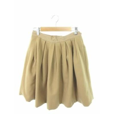 【中古】イエナ IENA une petites merveille スカート ギャザー ミニ ジップフライ ウール 38 ベージュ /TK14 レディース