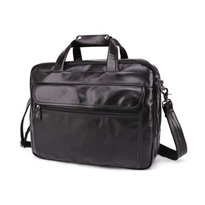 Polo Videng Genuine Oil Wax Leather Briefcase for Men 15 inch Laptop Case Business Messenger Shoulder Bags P12 (Black) 並行輸入品