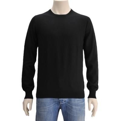 グランサッソ  GRANSASSO クルーネックニット メンズ ハイゲージ ブラック 長袖セーター イタリア製 ヴァージンウール でらでら 公式ブランド