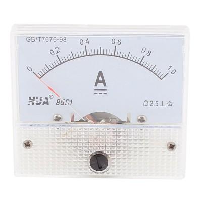 uxcell アナログ電流計 プラスチック 金属 DC 0-1A 85C1 ベージュ ホワイト 1個入り
