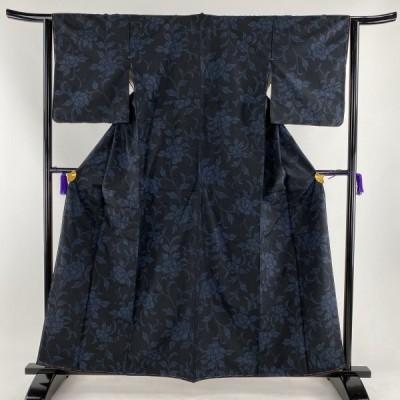 紬 優品 牡丹 濃紺 袷 身丈160cm 裄丈63cm S 正絹 【中古】