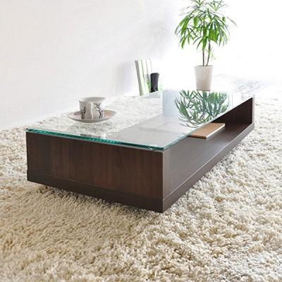 センターテーブル ブラウン ガラス天板 木棚 魅せる収納 シンプル ローテーブル おしゃれ