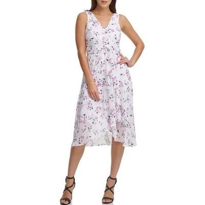 ダナ キャラン ニューヨーク レディース ワンピース トップス Sleeveless Floral Printed Double-V Faux Wrap Dress