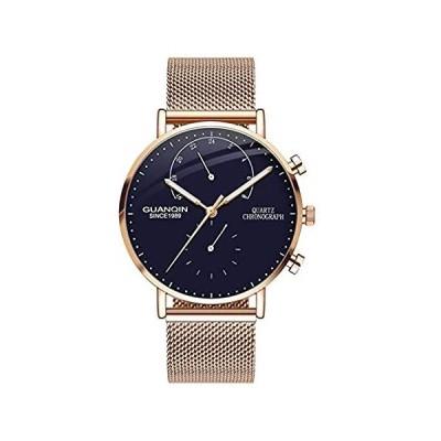 GUANQIN クロノグラフ クォーツ 腕時計 メンズ 薄型ケース ビジネス カジュアル クリエイティブ メッシュ ベルト 41mm rose gol