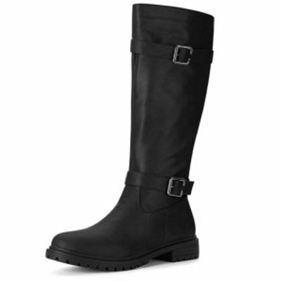 Allegra K レディース ロングブーツ 長靴 ライディングブーツ ブラック 24.5cm
