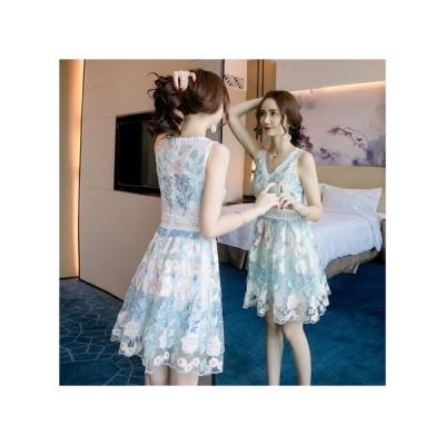 透け感レース 花柄 パーティードレス フレアスカート ミニ丈 レディース ワンピース お呼ばれドレス kh-0754