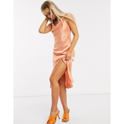 インザスタイル ミディドレス レディース In The Style x Meggan Grubb satin strappy back midi cami dress in coral エイソス ASOS