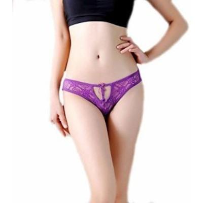 セクシー レース リボン 紐パン ★ レディース ランジェリー ショーツ パンツ パンティ ビキニ 可愛い 下着 紫 M71-7