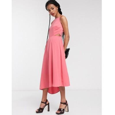 ウェアハウス ミディドレス レディース Warehouse open back cut out midi dress in pink エイソス ASOS ピンク