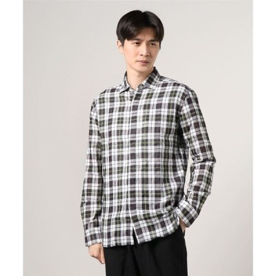 シャツ ブラウス Men's double plaid l/s fly shirt