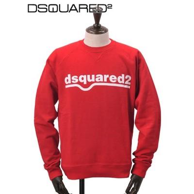 ディースクエアード DSQUARED2 国内正規品 メンズ 裏起毛トレーナー 長袖スウェットシャツ ロゴプリント レッド ラグランスリーブ でらでら 公式ブランド