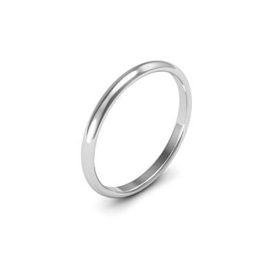 10K White Gold men's and women's plain wedding bands 2mm comfort-fit l