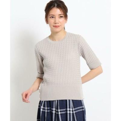 Dessin / デッサン 【CLASSY.6月号掲載/XS〜L/洗える/日本製】ケーブル編みニット<気になる二の腕をカバーできる五分袖>