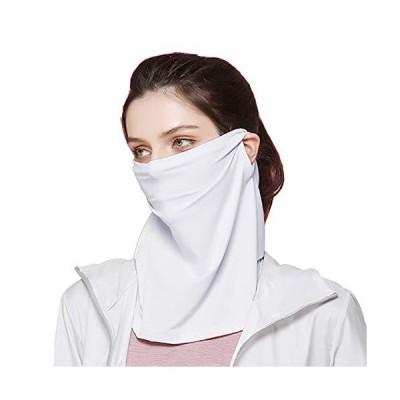 ネックガード ラッシュガード 紫外線対策 UVカット 耳かけヒモ付き 吸汗速乾 冷感 自転車 男女兼用(ホワイト)