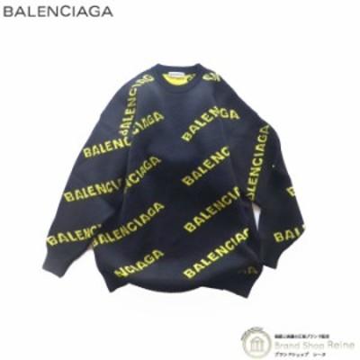 新品 バレンシアガ(BALENCIAGA) オールオーバー ロゴ ニット セーター 581027 Sサイズ BLACK×YELLOW