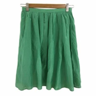【中古】アーバンリサーチ ドアーズ スカート フレア ギャザー ひざ丈 ONE 緑 グリーン レディース